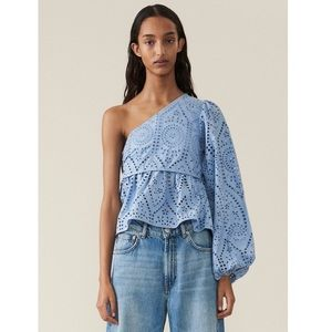 NEW Ganni Broderie Anglaise Top Forever Blue Top